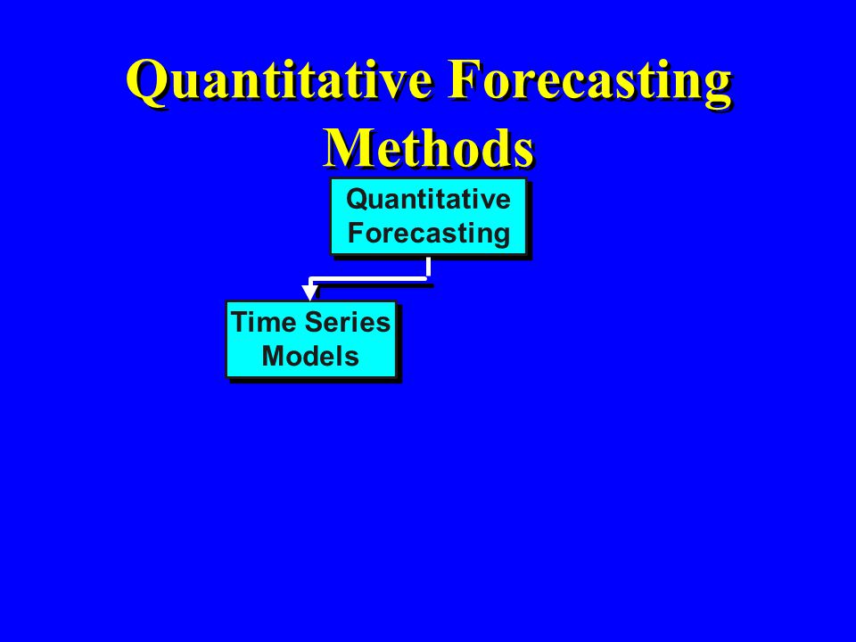 Causal Models Quantitative Forecasting Methods Quantitative Forecasting Time Series Models