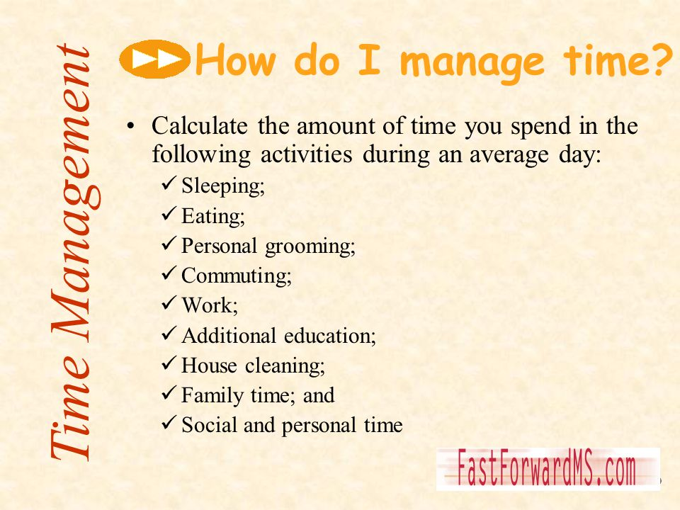 How do I manage time? Calculate the amount of time you spend in the following activities during an average day: Sleeping; Eating; Personal grooming; C