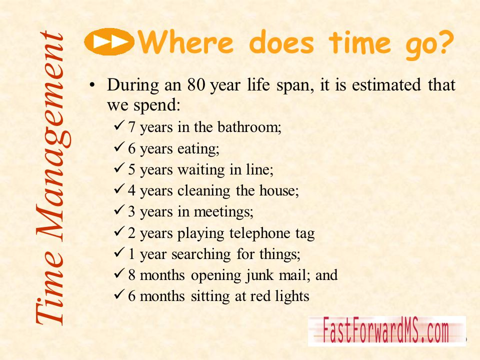 Where does time go? During an 80 year life span, it is estimated that we spend: 7 years in the bathroom; 6 years eating; 5 years waiting in line; 4 ye