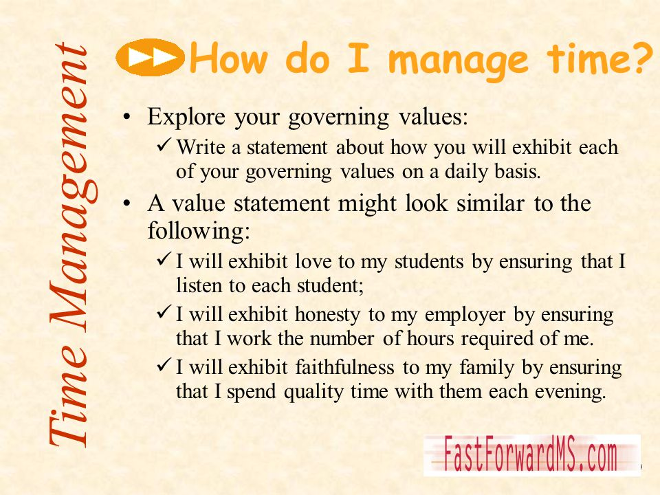 How do I manage time? Explore your governing values: Write a statement about how you will exhibit each of your governing values on a daily basis. A va