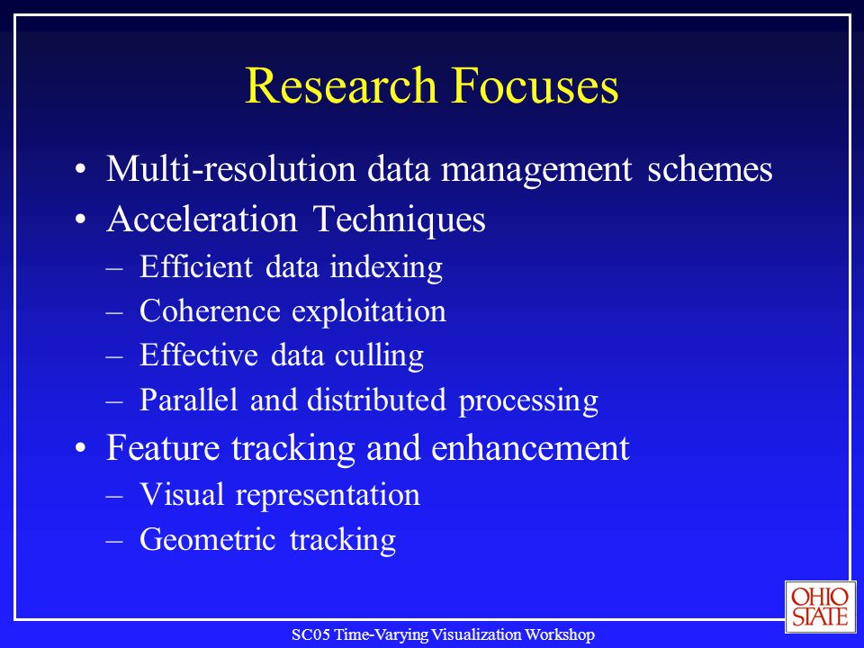 SC05 Time-Varying Visualization Workshop Research Focuses Multi-resolution data management schemes Acceleration Techniques –Efficient data indexing –C