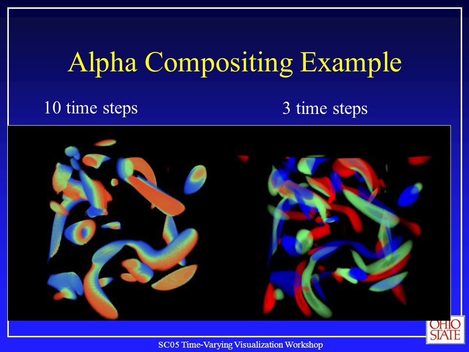 SC05 Time-Varying Visualization Workshop Alpha Compositing Example 10 time steps 3 time steps