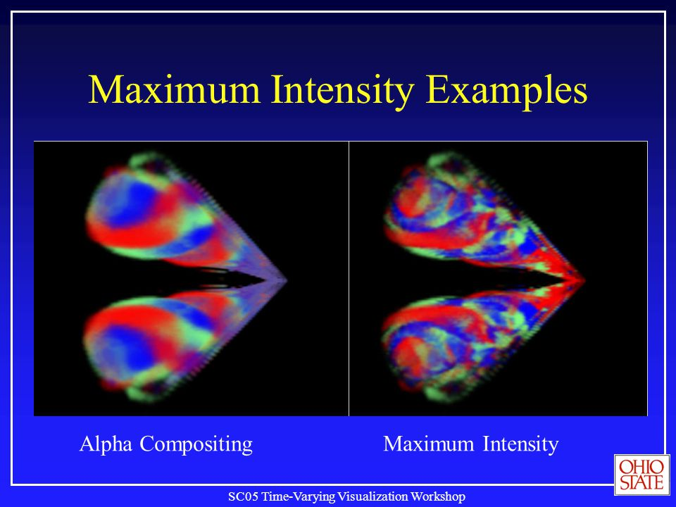 SC05 Time-Varying Visualization Workshop Maximum Intensity Examples Alpha Compositing Maximum Intensity