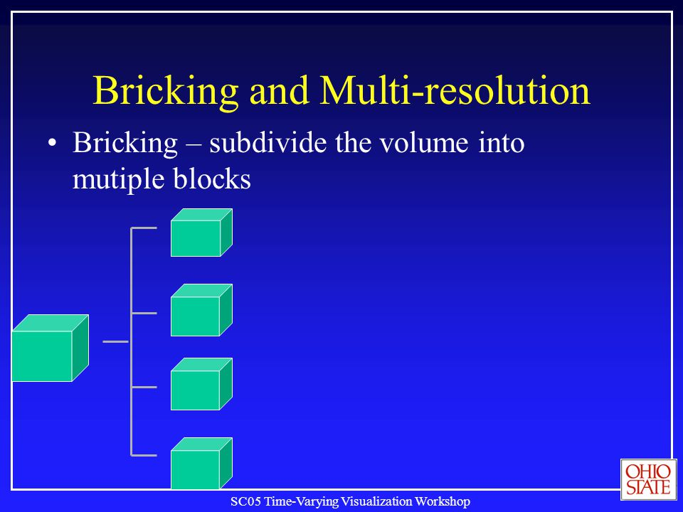 SC05 Time-Varying Visualization Workshop Bricking and Multi-resolution Bricking – subdivide the volume into mutiple blocks