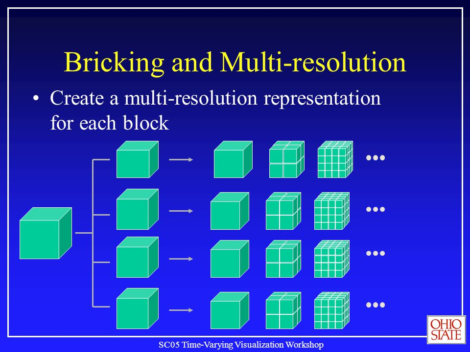 SC05 Time-Varying Visualization Workshop Bricking and Multi-resolution Create a multi-resolution representation for each block