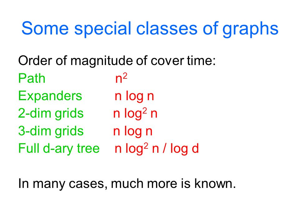 Some special classes of graphs Order of magnitude of cover time: Path n 2 Expanders n log n 2-dim grids n log 2 n 3-dim grids n log n Full d-ary tree