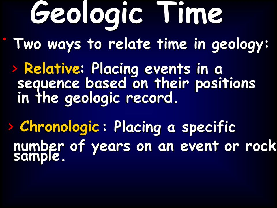 > Relative: Placing events in a sequence based on their positions in the geologic record. > Chronologic sample. Two ways to relate time in geology: >