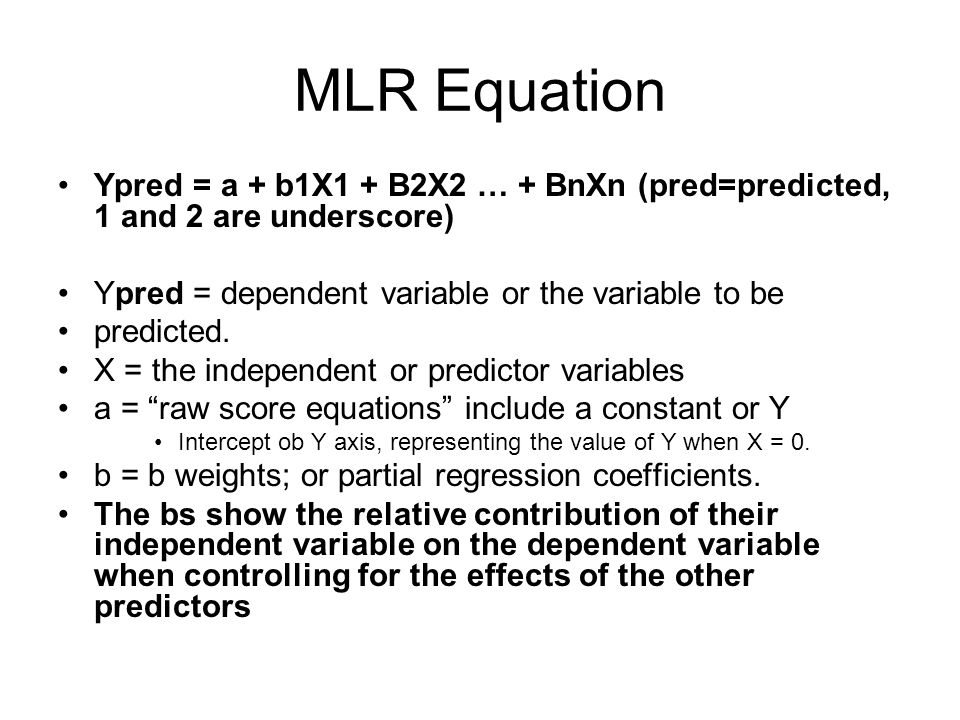 Simple vs. Multiple Regression One dependent variable Y predicted from one independent variable X One regression coefficient r 2 : proportion of varia
