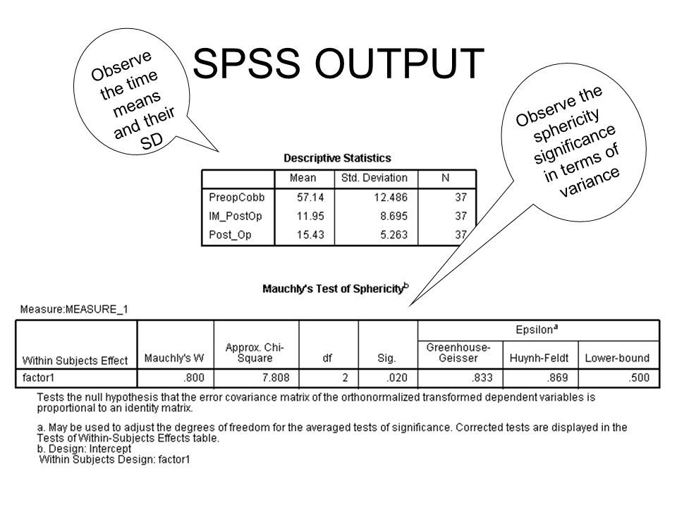 SPSS Output From the variables box select accordingly 1, 2, and 3 rd measurement points during the study period. Click the option box and select descr