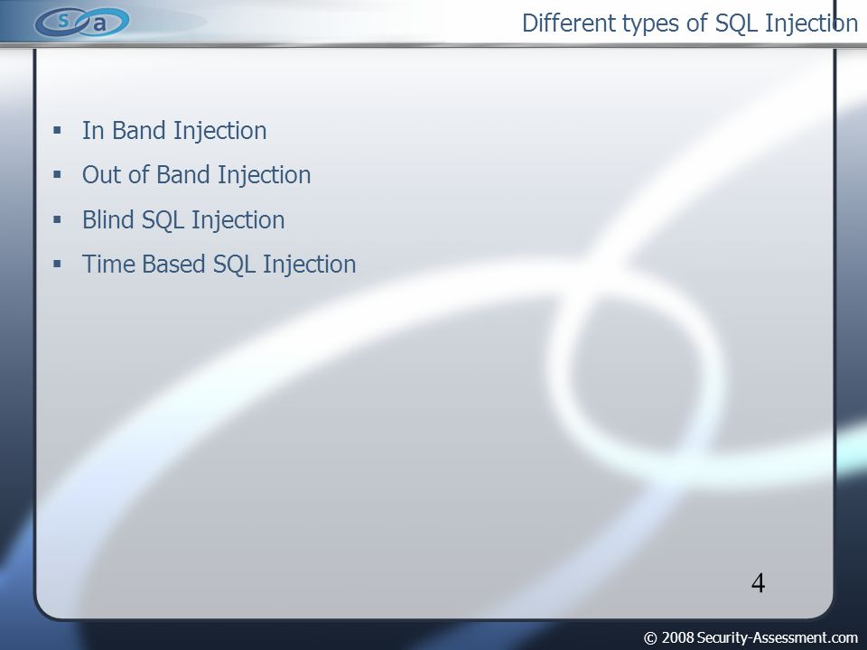 © 2008 Security-Assessment.com 5 In Band Injection Results are embedded via union select Useful when SQL error message is displayed Fastest way to extract data Ex: http://www.buyviagra.com/buy.php?id=1 UNION ALL null, null, null, null, concat(username,0x3a,admin_password), null from admin/*