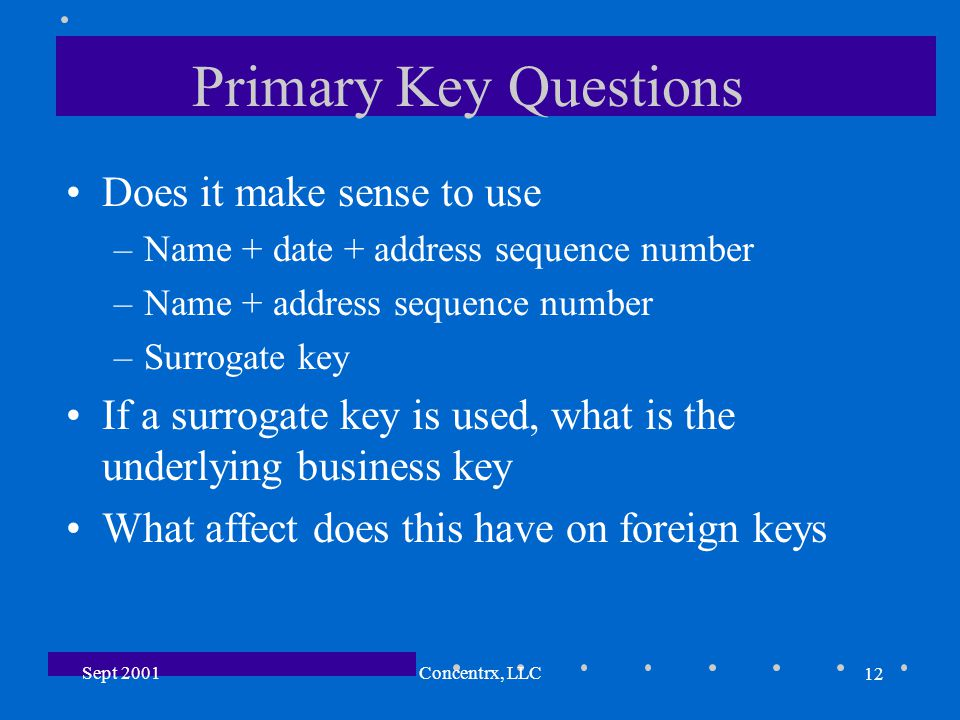12 Sept 2001Concentrx, LLC Primary Key Questions Does it make sense to use –Name + date + address sequence number –Name + address sequence number –Surrogate key If a surrogate key is used, what is the underlying business key What affect does this have on foreign keys