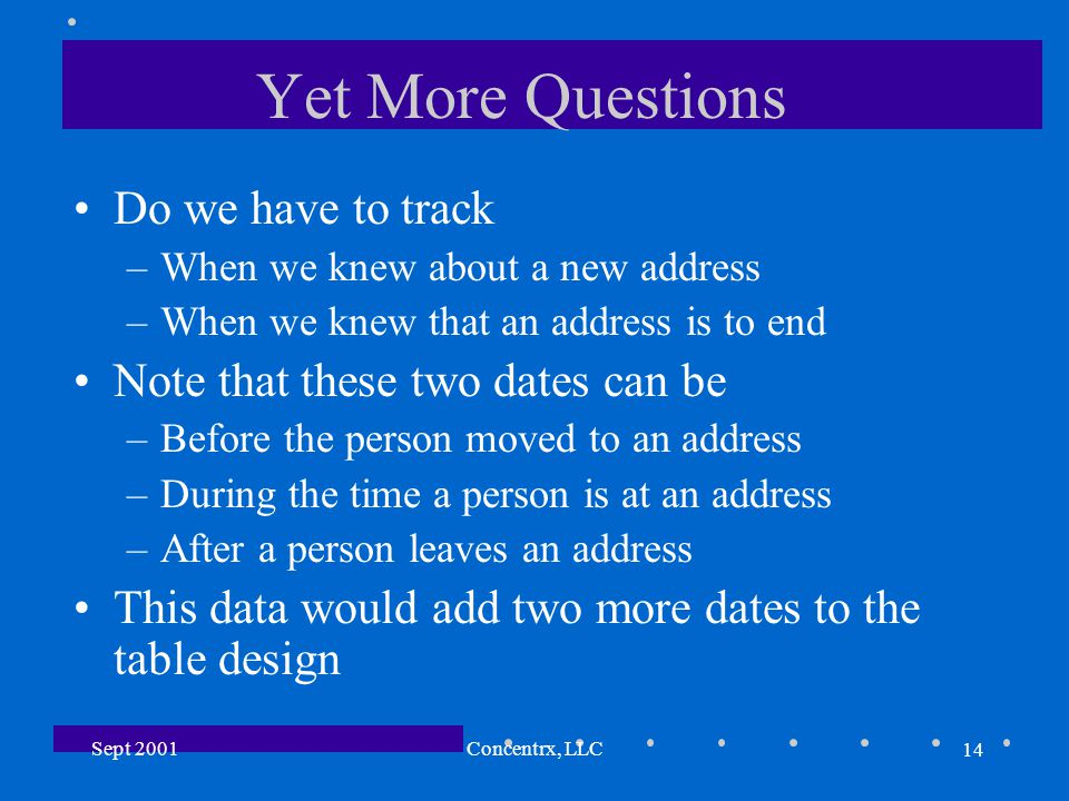 14 Sept 2001Concentrx, LLC Yet More Questions Do we have to track –When we knew about a new address –When we knew that an address is to end Note that these two dates can be –Before the person moved to an address –During the time a person is at an address –After a person leaves an address This data would add two more dates to the table design
