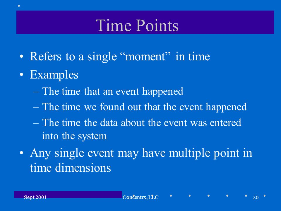 20 Sept 2001Concentrx, LLC Time Points Refers to a single moment in time Examples –The time that an event happened –The time we found out that the event happened –The time the data about the event was entered into the system Any single event may have multiple point in time dimensions