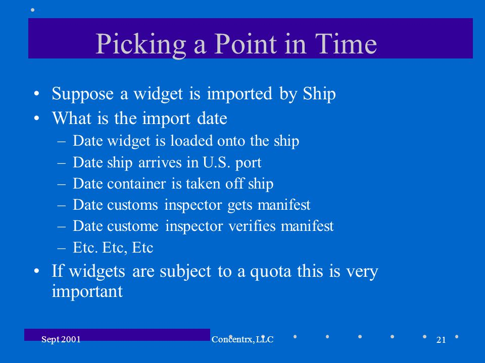 21 Sept 2001Concentrx, LLC Picking a Point in Time Suppose a widget is imported by Ship What is the import date –Date widget is loaded onto the ship –Date ship arrives in U.S.