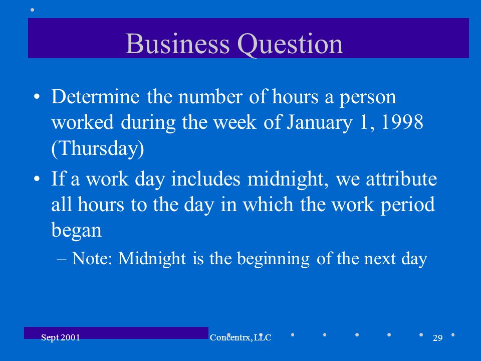 29 Sept 2001Concentrx, LLC Business Question Determine the number of hours a person worked during the week of January 1, 1998 (Thursday) If a work day