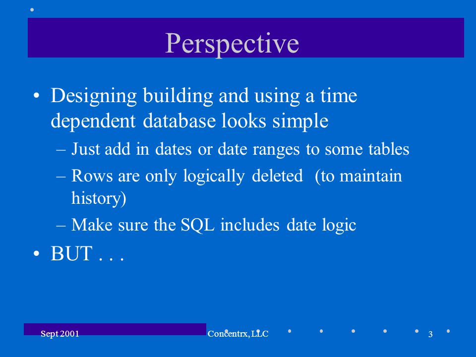 3 Sept 2001Concentrx, LLC Perspective Designing building and using a time dependent database looks simple –Just add in dates or date ranges to some tables –Rows are only logically deleted (to maintain history) –Make sure the SQL includes date logic BUT...