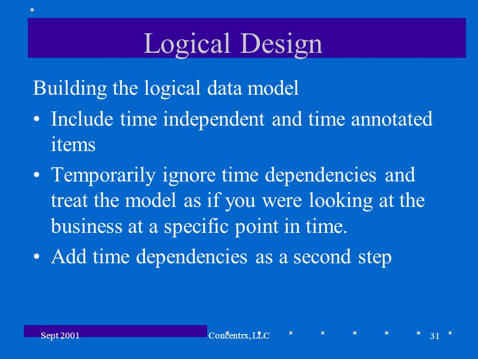 31 Sept 2001Concentrx, LLC Logical Design Building the logical data model Include time independent and time annotated items Temporarily ignore time de