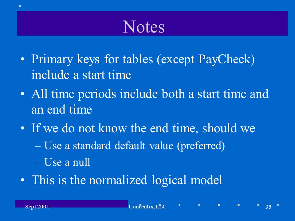 35 Sept 2001Concentrx, LLC Notes Primary keys for tables (except PayCheck) include a start time All time periods include both a start time and an end