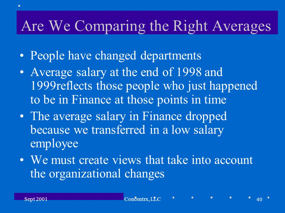 40 Sept 2001Concentrx, LLC Are We Comparing the Right Averages People have changed departments Average salary at the end of 1998 and 1999reflects those people who just happened to be in Finance at those points in time The average salary in Finance dropped because we transferred in a low salary employee We must create views that take into account the organizational changes