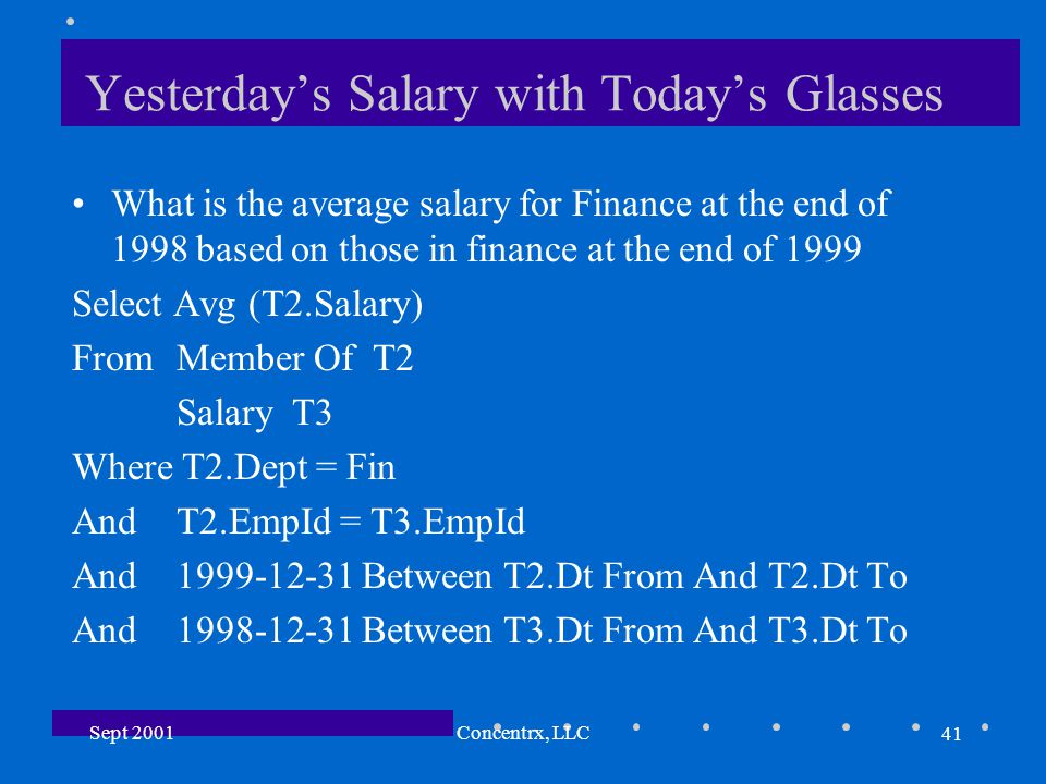 41 Sept 2001Concentrx, LLC Yesterdays Salary with Todays Glasses What is the average salary for Finance at the end of 1998 based on those in finance a
