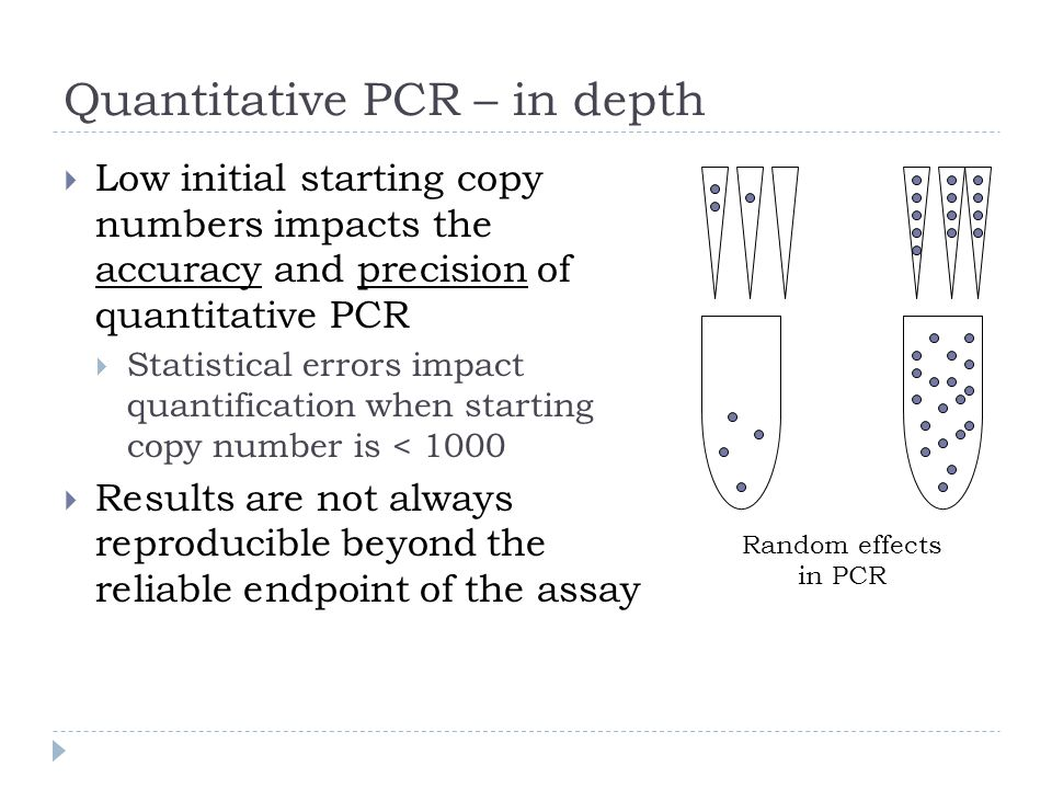 Quantitative PCR – in depth Low initial starting copy numbers impacts the accuracy and precision of quantitative PCR Statistical errors impact quantif