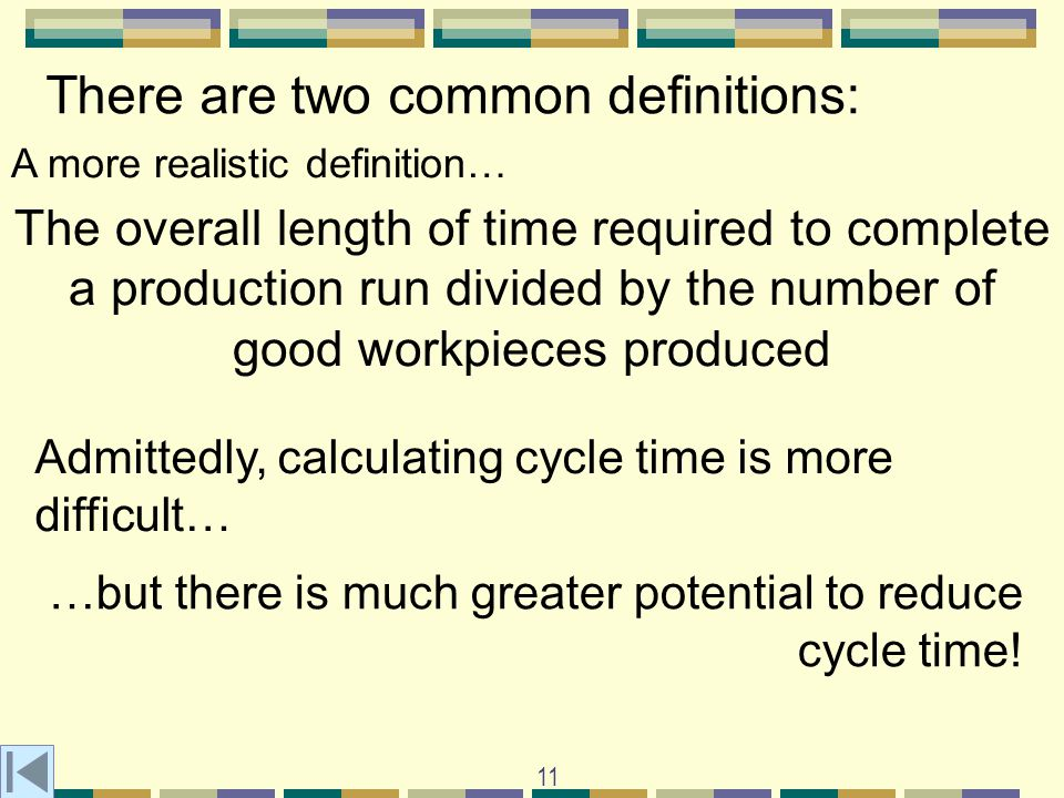 11 There are two common definitions: A more realistic definition… The overall length of time required to complete a production run divided by the number of good workpieces produced Admittedly, calculating cycle time is more difficult… …but there is much greater potential to reduce cycle time!