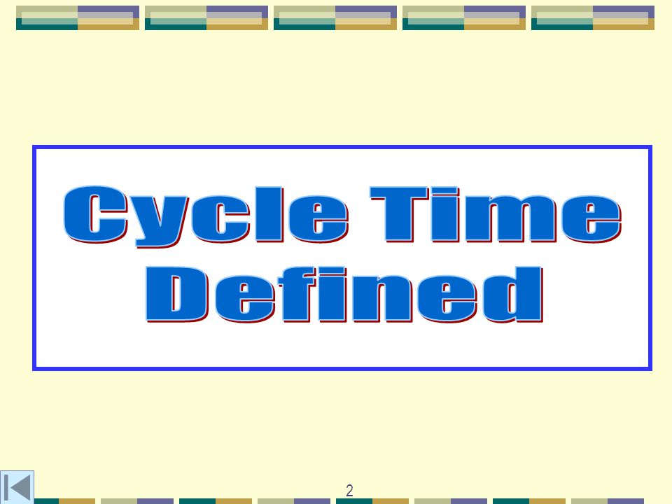 3 There are two common definitions: The interval that passes from a given event in one cycle to the same event in the next cycle Cycle Start Cycle Start Well call this the button-to-button time