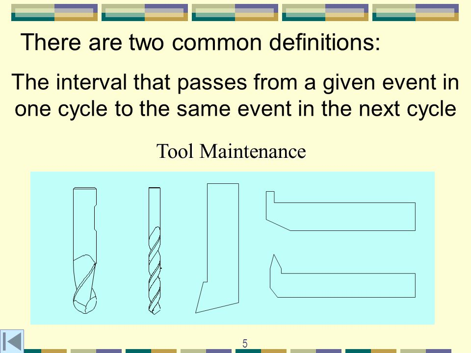 5 There are two common definitions: The interval that passes from a given event in one cycle to the same event in the next cycle Tool Maintenance