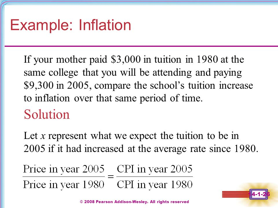 © 2008 Pearson Addison-Wesley. All rights reserved 14-1-26 Example: Inflation Solution If your mother paid $3,000 in tuition in 1980 at the same colle