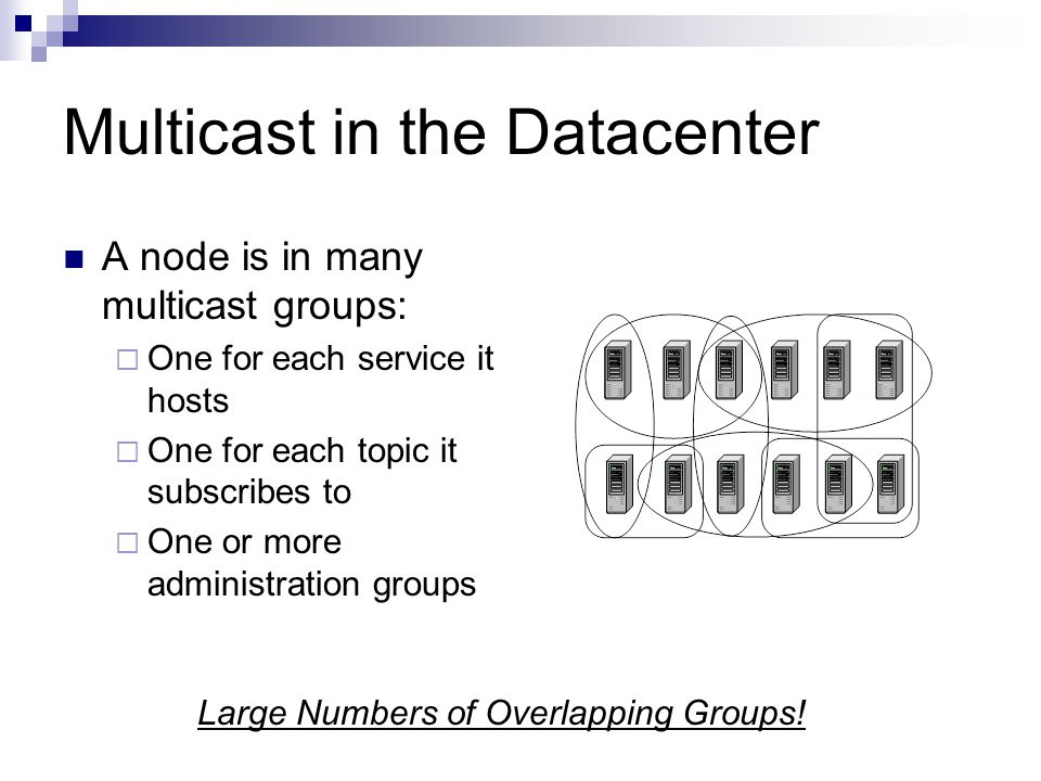 Multicast in the Datacenter A node is in many multicast groups: One for each service it hosts One for each topic it subscribes to One or more administration groups Large Numbers of Overlapping Groups!