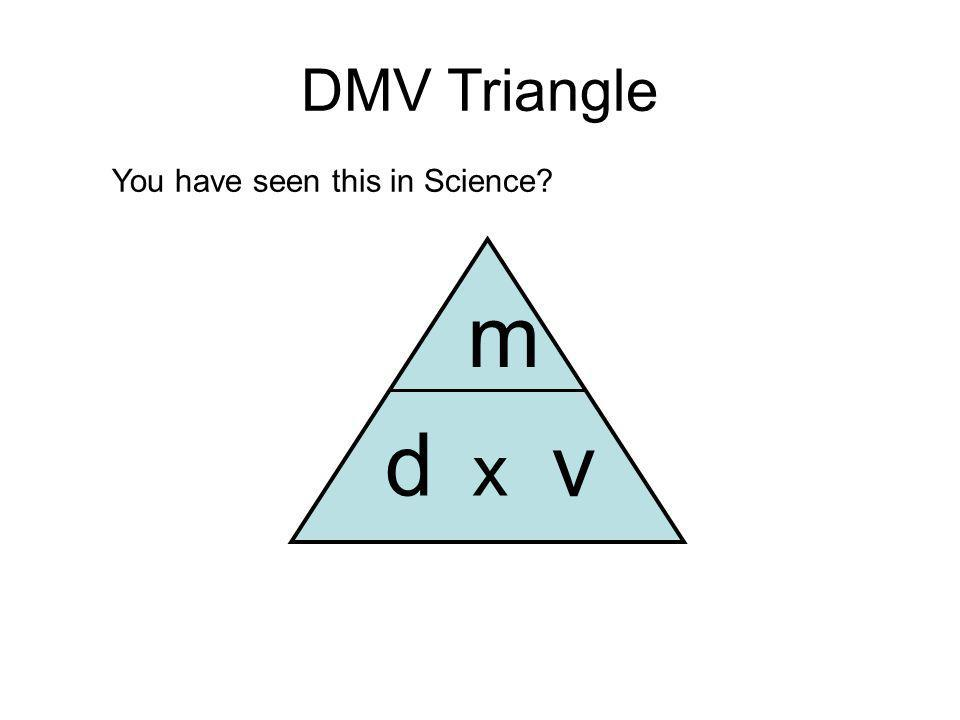 DMV Triangle d m v x You have seen this in Science?