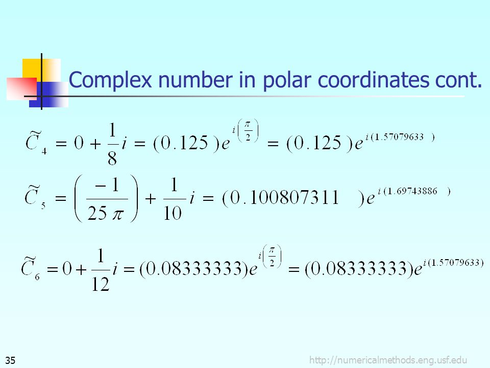 http://numericalmethods.eng.usf.edu35 Complex number in polar coordinates cont.