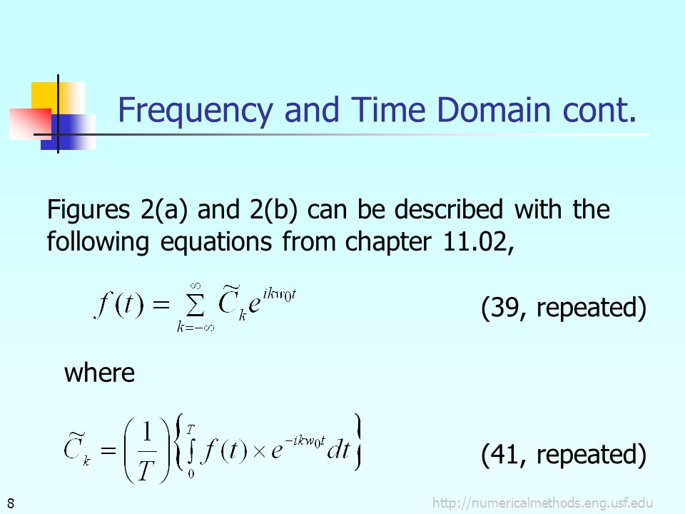 Frequency and Time Domain cont. Figures 2(a) and 2(b) can be described with the following equations from chapter 11.02, (39, repeated) where (41, repe