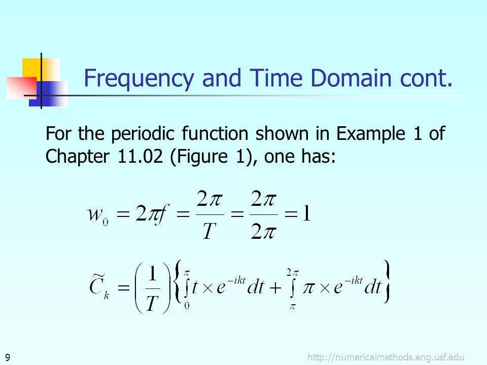 9 For the periodic function shown in Example 1 of Chapter 11.02 (Figure 1), one has: Frequency and Time Domain cont.