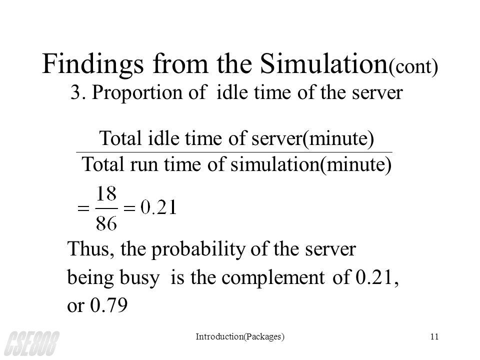 Introduction(Packages)11 Findings from the Simulation (cont) 3.