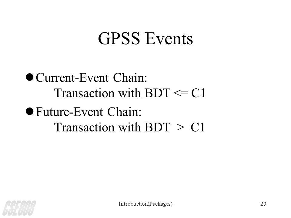 Introduction(Packages)20 GPSS Events lCurrent-Event Chain: Transaction with BDT <= C1 lFuture-Event Chain: Transaction with BDT > C1