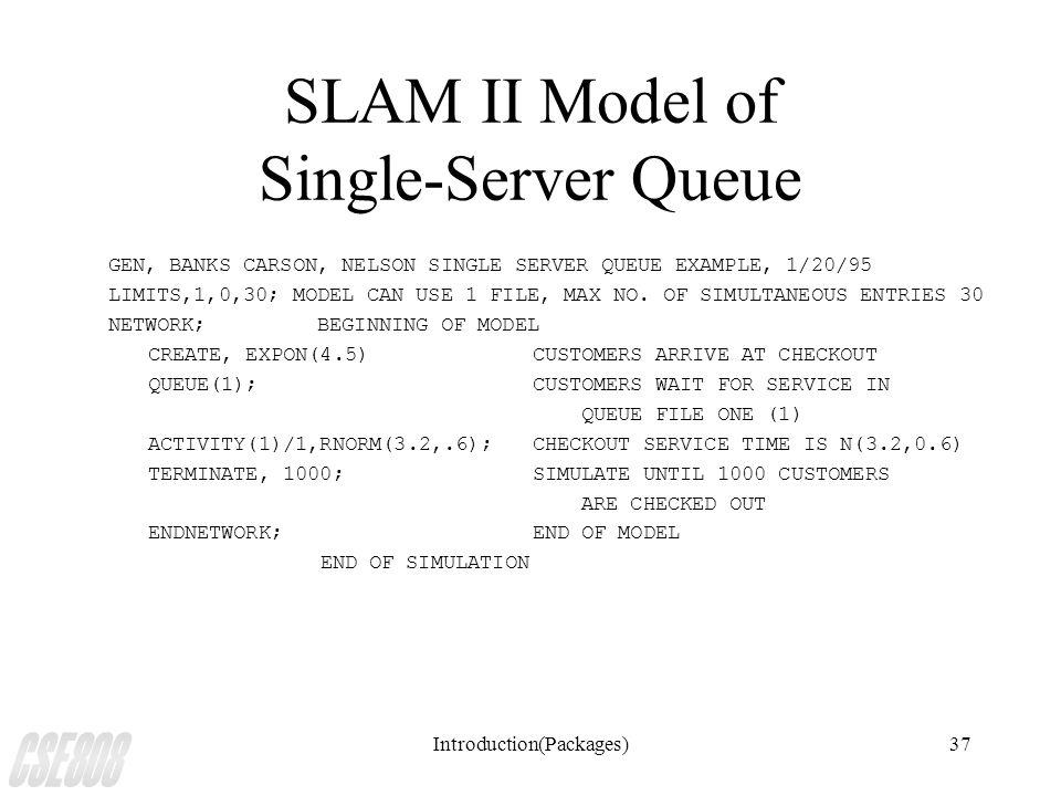 Introduction(Packages)37 SLAM II Model of Single-Server Queue GEN, BANKS CARSON, NELSON SINGLE SERVER QUEUE EXAMPLE, 1/20/95 LIMITS,1,0,30; MODEL CAN USE 1 FILE, MAX NO.