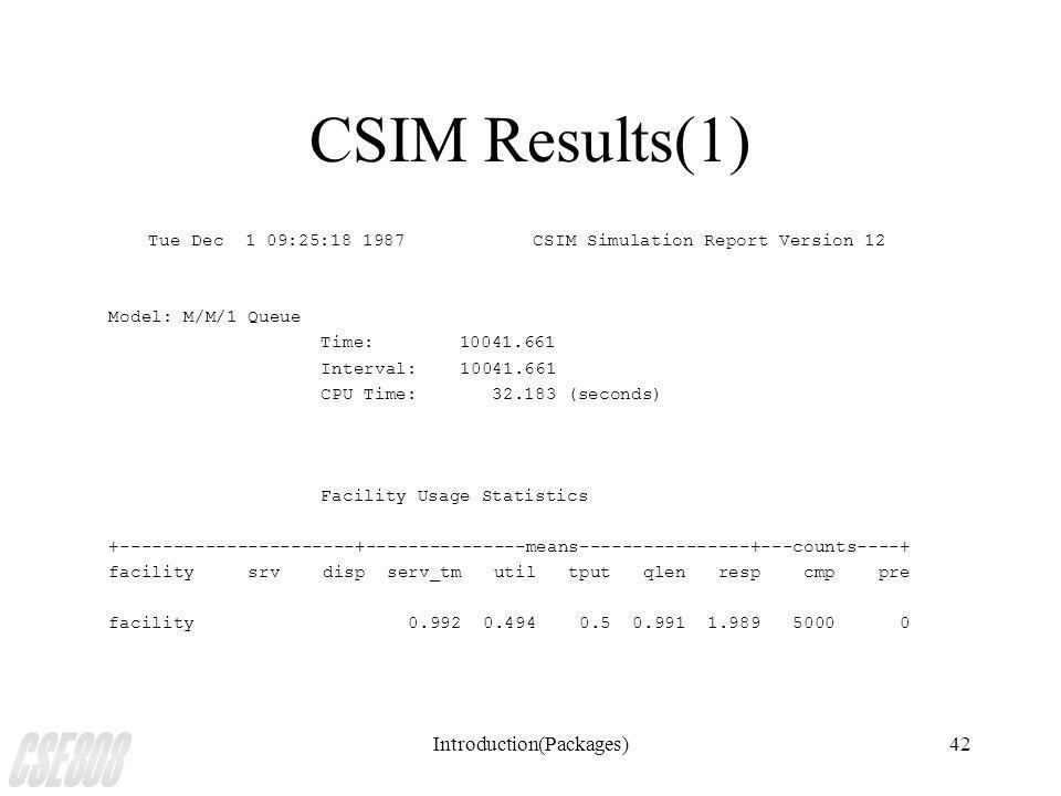 Introduction(Packages)42 CSIM Results(1) Tue Dec 1 09:25:18 1987CSIM Simulation Report Version 12 Model: M/M/1 Queue Time: 10041.661 Interval: 10041.661 CPU Time: 32.183 (seconds) Facility Usage Statistics +----------------------+---------------means----------------+---counts----+ facility srv disp serv_tm util tput qlen resp cmp pre facility 0.992 0.494 0.5 0.991 1.989 5000 0