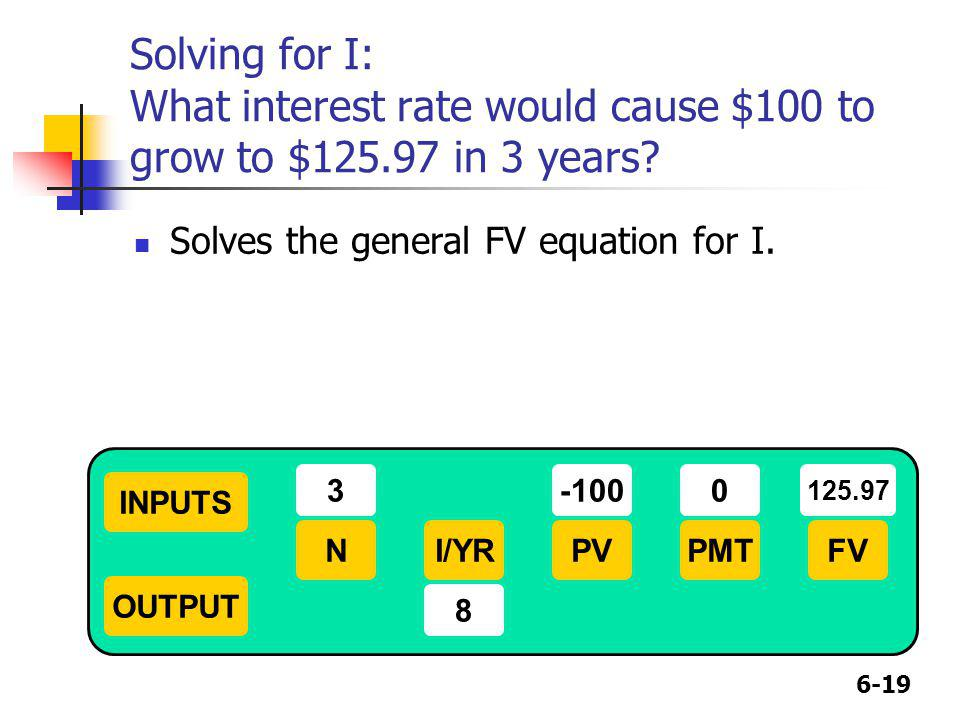 6-19 Solving for I: What interest rate would cause $100 to grow to $125.97 in 3 years? Solves the general FV equation for I. INPUTS OUTPUT NI/YRPMTPVF