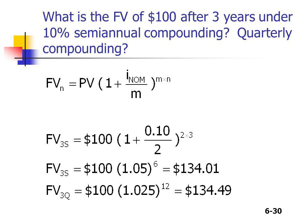 6-30 What is the FV of $100 after 3 years under 10% semiannual compounding? Quarterly compounding?