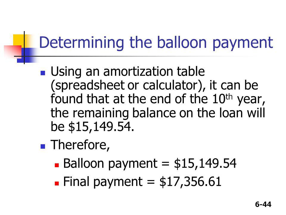 6-44 Determining the balloon payment Using an amortization table (spreadsheet or calculator), it can be found that at the end of the 10 th year, the r