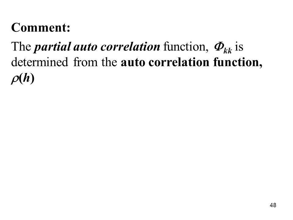 Comment: The partial auto correlation function, kk is determined from the auto correlation function, (h) 48