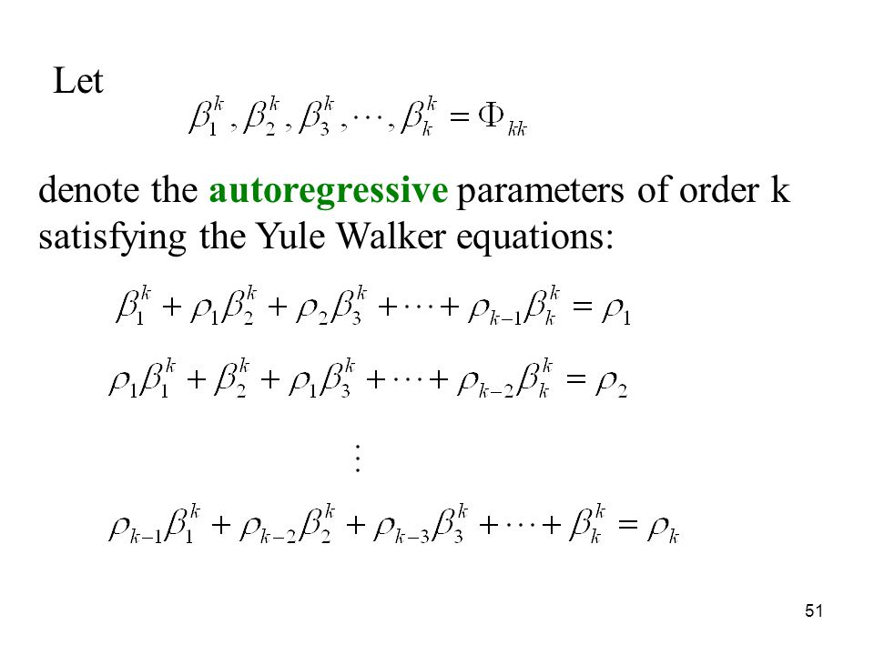 Let denote the autoregressive parameters of order k satisfying the Yule Walker equations: 51