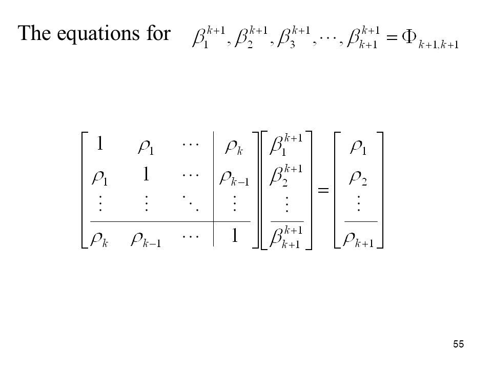 The equations for 55