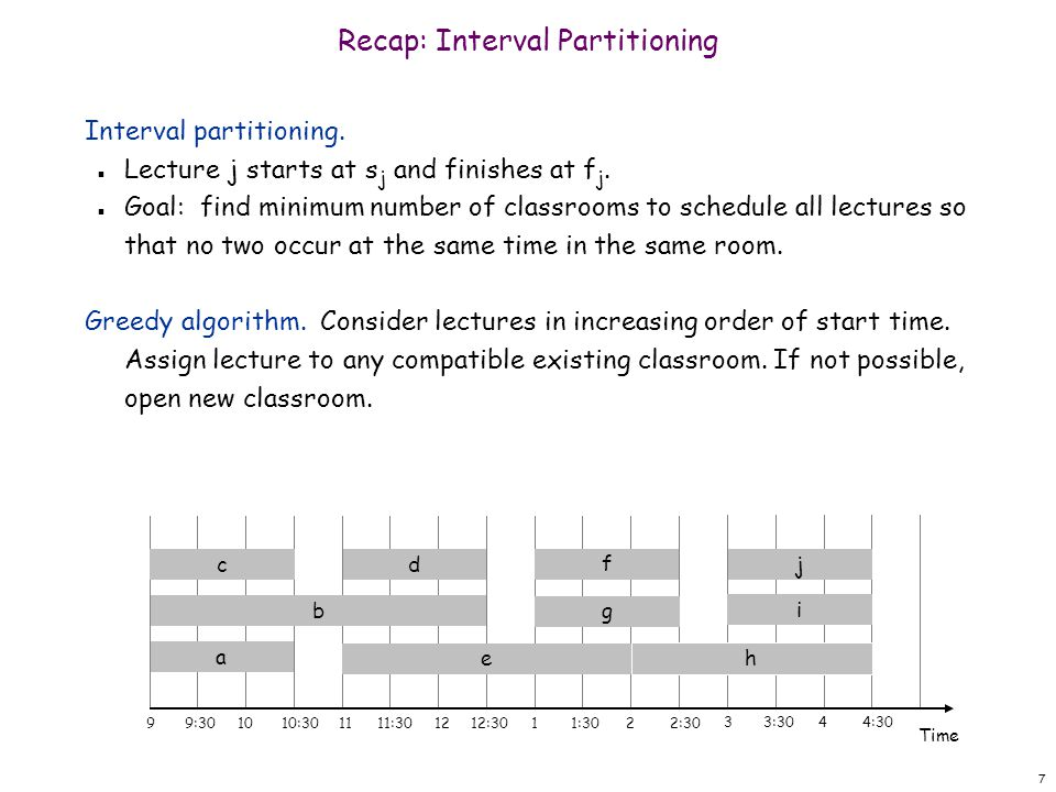 7 Recap: Interval Partitioning Interval partitioning.