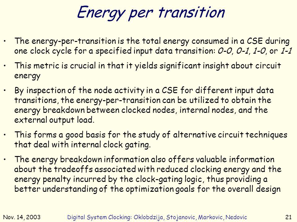Nov. 14, 2003Digital System Clocking: Oklobdzija, Stojanovic, Markovic, Nedovic21 Energy per transition The energy-per-transition is the total energy
