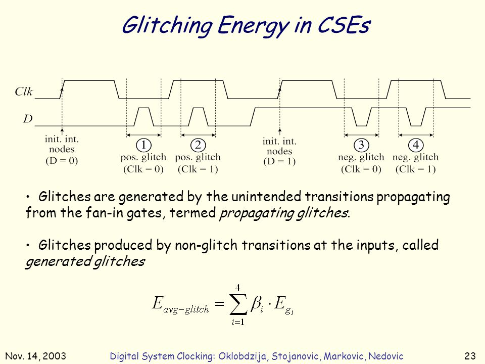 Nov. 14, 2003Digital System Clocking: Oklobdzija, Stojanovic, Markovic, Nedovic23 Glitching Energy in CSEs Glitches are generated by the unintended tr