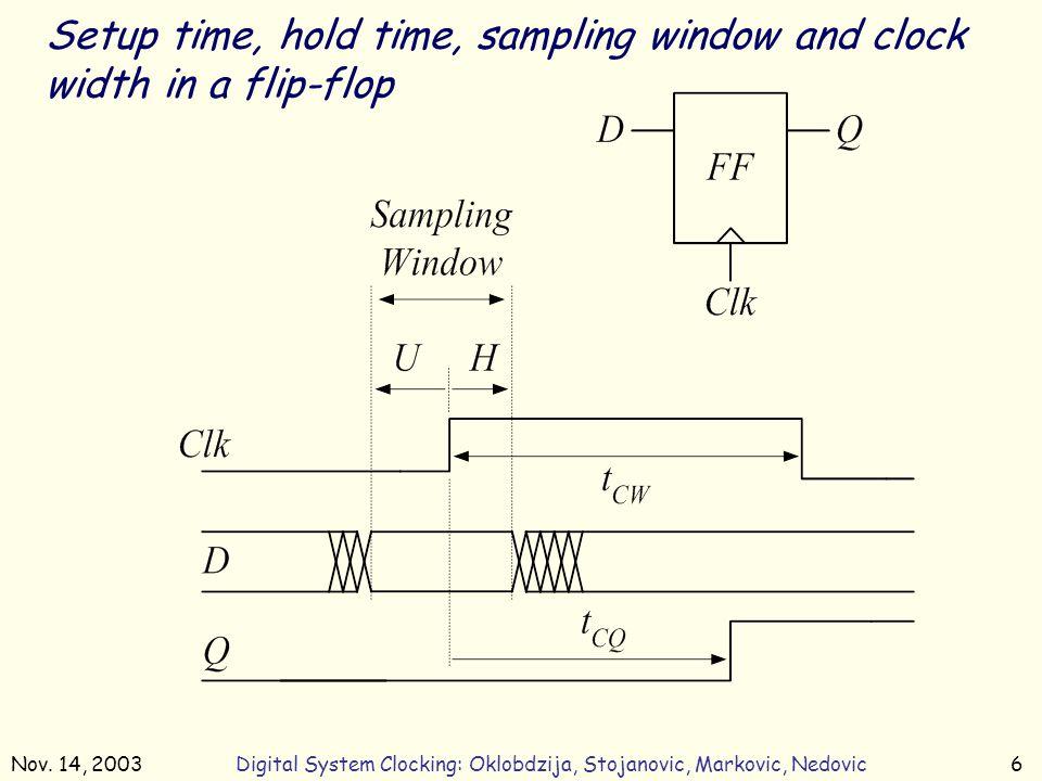 Nov. 14, 2003Digital System Clocking: Oklobdzija, Stojanovic, Markovic, Nedovic6 Setup time, hold time, sampling window and clock width in a flip-flop