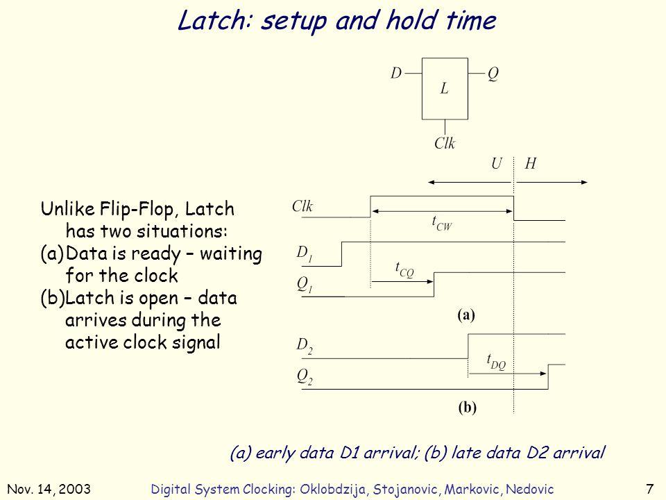 Nov. 14, 2003Digital System Clocking: Oklobdzija, Stojanovic, Markovic, Nedovic7 Latch: setup and hold time (a) early data D1 arrival; (b) late data D
