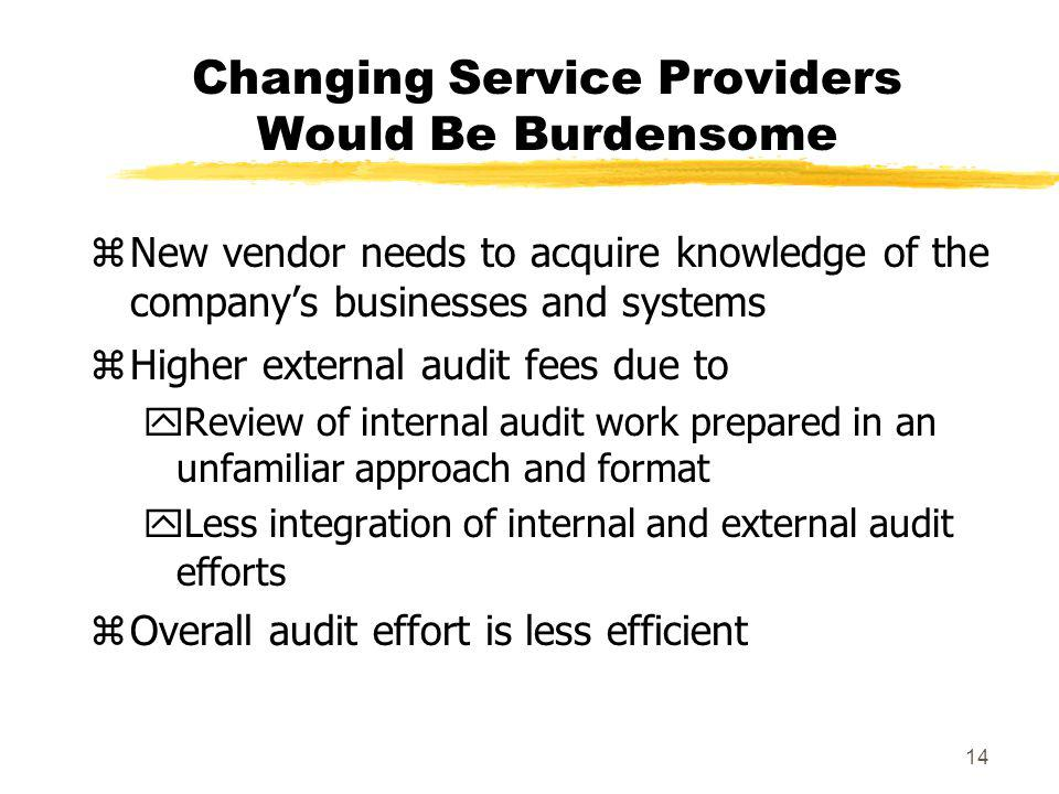 14 Changing Service Providers Would Be Burdensome zNew vendor needs to acquire knowledge of the companys businesses and systems zHigher external audit fees due to yReview of internal audit work prepared in an unfamiliar approach and format yLess integration of internal and external audit efforts zOverall audit effort is less efficient